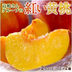 桃 黄桃 もも おうとう モモ 山形県産 高嶋さんグループの紅い黄桃 無袋黄桃 約2kg(5〜10玉) ×2箱 送料無料