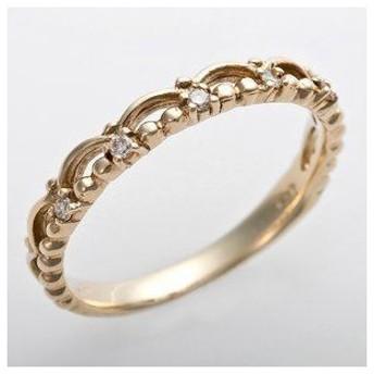 ds-1244492 K10イエローゴールド 天然ダイヤリング 指輪 ピンキーリング ダイヤモンドリング 0.03ct 1号 ティアラモチーフ