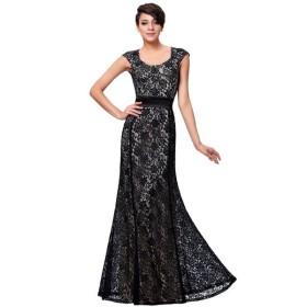 カップスリーブ 花柄 レース 黒 ロング イブニング ドレス KK000215-1