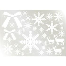 ウィンドウシール 雪の結晶(3) リボン  のぼり屋工房/グループC