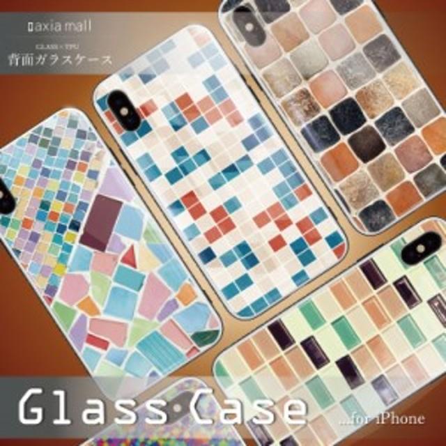 beb7fd3102 ガラスケース iPhone XS iPhone8 ケース 背面ガラス TPU スマホケース おしゃれ 海外 モザイクタイル モロッコタイル