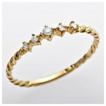 ds-1244579 K10イエローゴールド 天然ダイヤリング 指輪 ダイヤ0.06ct 9.5号 アンティーク調 プリンセス (ds1244579)