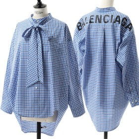 BALENCIAGA バレンシアガ 520497 TAM12 ニュー スウィングシャツ ノーカラー チェックシャツ リボンタイ ドロップ カラー6377 レディース