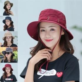 帽子 レディース帽子 UVカット あご紐付き 折り畳み ハット 紫外線カット つば広 日焼け防止 通気性 折り畳み 紫外線 5色 アウトドア