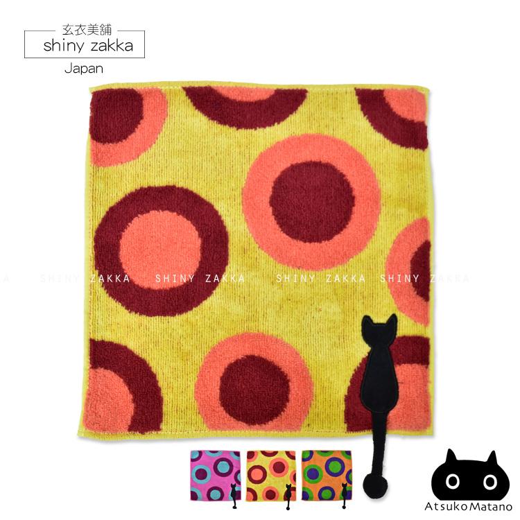 日本毛巾-療癒系俁野溫子黑貓背影刺繡小方巾-圓形圖案/土黃色-玄衣美舖