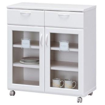 【ポイント最大17倍】カウンターワゴン ルシフォン 幅76cm ( レンジ台 食器棚 キッチン収納 カップボード )