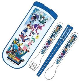 トリオセット 箸・フォーク・スプーン タイムボカン24 スライド式 子供用 キャラクター ( 子供用お箸 箸 セット 食洗機対応 )