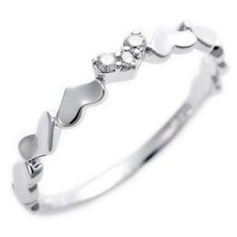 ds-1244477 ダイヤモンド ピンキーリング K10 ホワイトゴールド ダイヤ0.03ct ハートモチーフ 2.5号 指輪 (ds1244477)