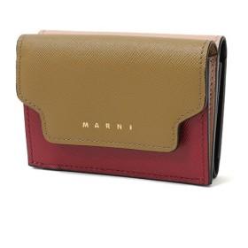MARNI マルニ PFMOW02U09 LV520 レザー 三つ折り財布 ミニ財布 スモール 豆財布 カラーZ105N/THYME+CHERRY+PINKSAND レディース