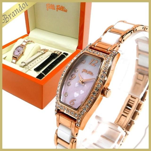 7c6f60e8e1 フォリフォリ Folli Follie レディース 腕時計 トノー型 ハート 替えベルト付 ピンクパール×ピンク