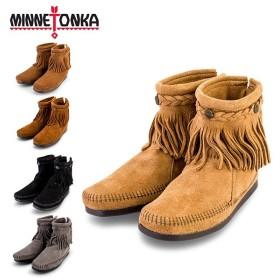 【赤字売切り価格】ミネトンカ Minnetonka ハイトップ バックジップ ブーツ スエード フリンジ Hi Top Back Zip Boot モカシン ショートブーツ レディース