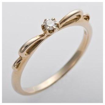 ds-1244485 K10イエローゴールド 天然ダイヤリング 指輪 ピンキーリング ダイヤモンドリング 0.03ct 2号 リボンモチーフ