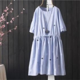ワンピース ミニワンピース 森ガール 綿麻 夏 カジュアル ゆったり 文芸  ドレス 可愛い 夏 半袖