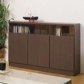 カウンター下収納 リビングキャビネット サイドボード 3枚扉 幅120cm ブラウン ( リビング収納 キッチン収納 収納棚 )