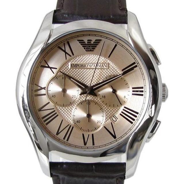 a28bfdb165 エンポリオ アルマーニ 時計 腕時計 EMPORIO ARMANI クロノグラフ CLASSIC クラシック アンバー ダークブラウンレザーベルト  メンズ