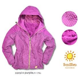 Sun3San まるで毛布 裏ボア ジャケット パープル ドット柄 防寒 アウトドア 暖か レディース ナイロンジャケット