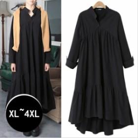 ワンピース ロング丈ワンピース マキシ ブラック 長袖 ゆったり 大きいサイズ 体型カバー ワンピース 春 セール