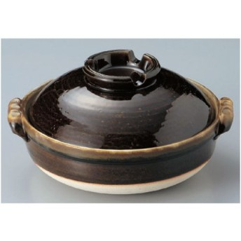 鍋 鉄釉 6号鍋(萬古焼) 高さ113mm×(手付・はみ出し部分含む)サイズ:213・口径:190/業務用/新品