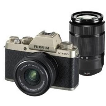 富士フイルム(フジフイルム) X-T100 ダブルズームレンズキット(シャンパンゴールド) (FXT100WZLKG) ミラーレス一眼カメラ
