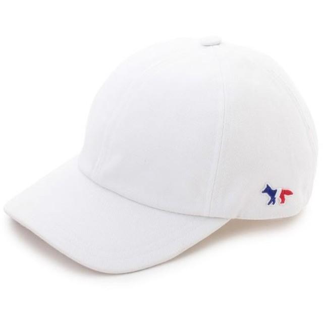 MAISON KITSUNE メゾンキツネ 04321 AU06100WW 0007 TRICOLOR FOX PATCH 刺繍 キャップ 帽子 ベースボールキャップ カラーWHITE