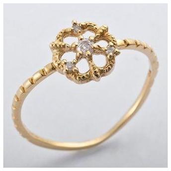 ds-1241457 K10イエローゴールド 天然ダイヤリング 指輪 ダイヤ0.05ct 11.5号 アンティーク調 フラワーモチーフ (ds1241457)