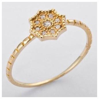 ds-1238529 K10イエローゴールド 天然ダイヤリング 指輪 ダイヤ0.06ct 12号 アンティーク調 フラワーモチーフ (ds1238529)