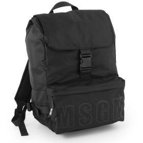 MSGM エムエスジーエム 2440MZ05 050 フラップ ナイロン バックパック リュック バッグ デイパック ロゴプリント カラー/ブラック メンズ