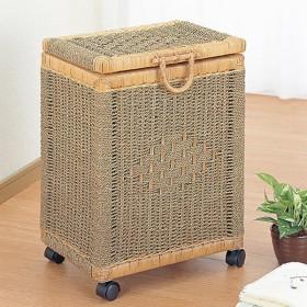 ランドリーボックス ラタン製 洗濯かご キャスター付 幅42cm