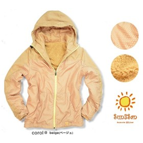 Sun3San まるで毛布 裏ボア ジャケット ベージュ ドット柄 防寒 アウトドア 暖か レディース ナイロンジャケット