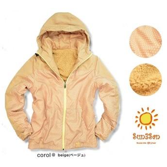 Sun3San まるで毛布 裏ボア ジャケット ドット柄 レディース