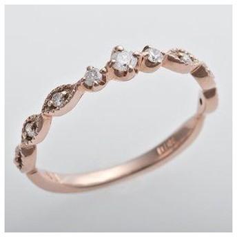 ds-1244448 K10ピンクゴールド 天然ダイヤリング 指輪 ピンキーリング ダイヤモンドリング 0.09ct 4号 アンティーク調 プリンセス (ds1244448)