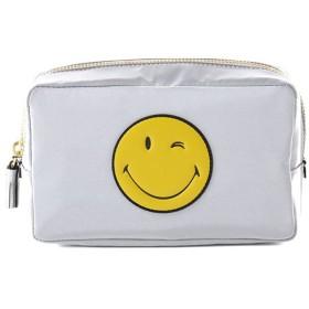 アニヤハインドマーチ 1017SL38228011XX01 make up pouch Printed Wink サテン メイクポーチ コスメケース 小物入れ スマイリー カラーGrey