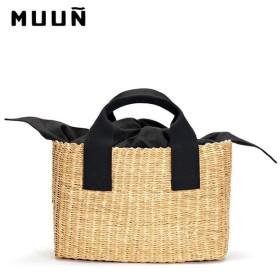 MUUN ムーニュ NINO ハンドメイド 巾着付き エレファントグラス スクエア型 かごバッグ カゴバッグ 手提げバッグ ハンドバッグ カラー/ナチュラル 訳有