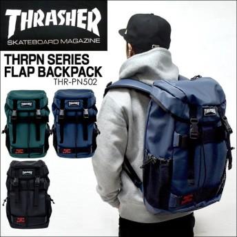 リュック THRASHER スラッシャー THRPN-502 フラップ リュックサック バックパック 黒 ブラック PC収納 スケーター 流行