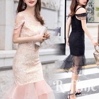パーティードレス 韓国 ワンピース 二次会 結婚式 お呼ばれ ドレス タイト 二次会 オフショル 肩出し
