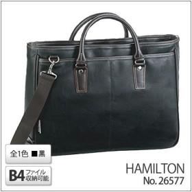 (B4ファイル対応)HAMILTON 合皮トートビジネスバッグ(黒) 26577/01(ブリーフケース)(平野鞄)(メール便不可)(ラッピング不可)