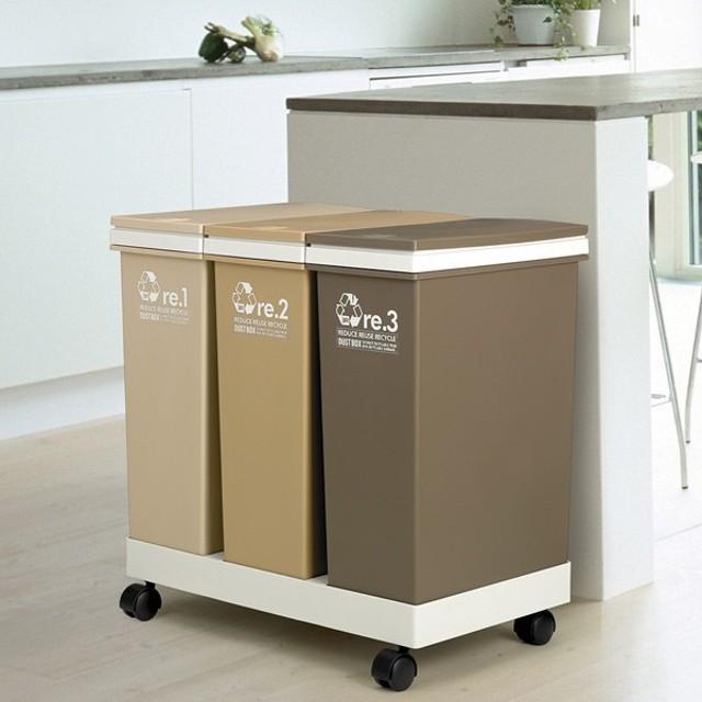 2a2c517692 □在庫限り・入荷なし□ゴミ箱 資源ゴミ分別 横型3分別ワゴン ( ごみ箱 ...