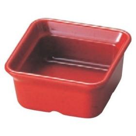 【メラミン角小鉢赤】 幅77 奥行77 高さ37 【樹脂製】【業務用食器】【グループI】