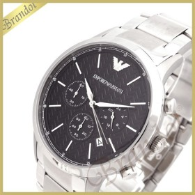 エンポリオアルマーニ EMPORIO ARMANI メンズ 腕時計 Renato クロノグラフ 43mm ブラック×シルバー AR2486 [在庫品]