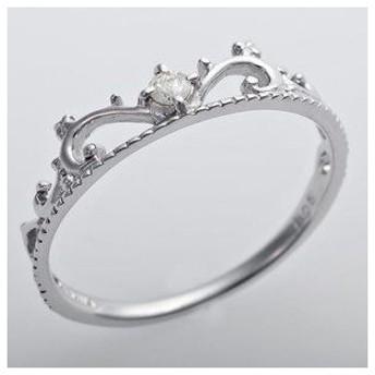 ds-1241547 K10ホワイトゴールド 天然ダイヤリング 指輪 ダイヤ0.05ct 9号 アンティーク調 プリンセス ティアラモチーフ (ds1241547)