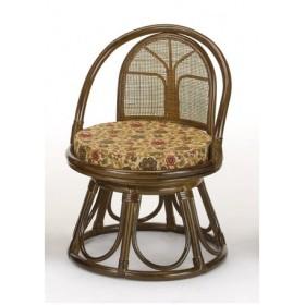 回転座椅子 ラタン ミドルハイタイプ 籐家具 座面高33cm