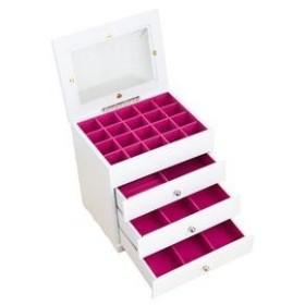 ds-1093883 ジュエリーボックス(宝石箱) 4段 引き出し収納付き ホワイト(白) (ds1093883)