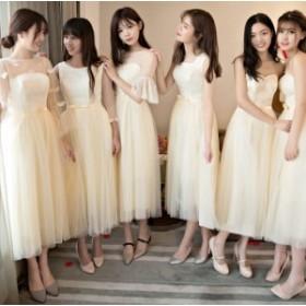 結婚式 パーティードレス ワンピース ファッション レディース 二次会 体型カバー aライン 同窓会 発表会 女子会 6タイプ シャンパン色