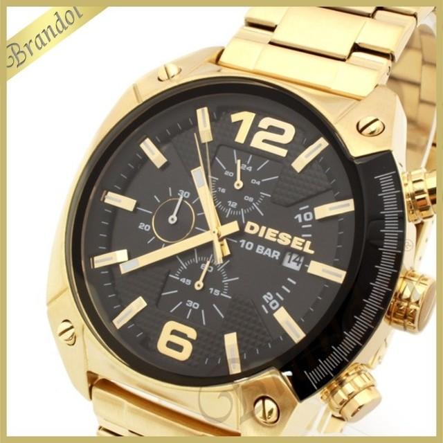 ディーゼル DIESEL メンズ腕時計 オーバーフロー クロノグラフ Overflow 49mm ブラック×ゴールド DZ4342 [在庫品]