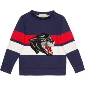 Gucci Kids panther embroidered sweatshirt - ブルー