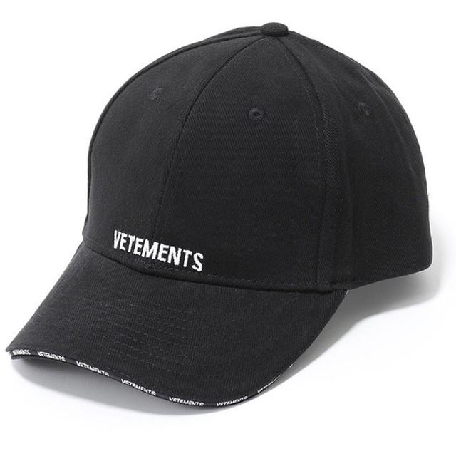 VETEMENTS ヴェトモン Cap WSS18AC17 ロゴ刺繍 ベースボールキャップ 帽子 カラーBLACK メンズ