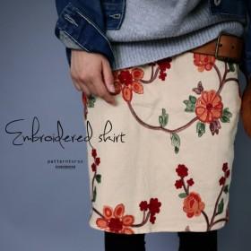 和テイストで、新鮮さを足し算。カラー刺繍スカート##・メール便不可