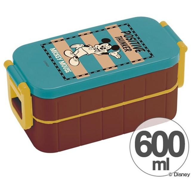 ■在庫限り・入荷なし■お弁当箱 2段 ミッキーマウス バッジコレクション 600ml 箸付き レディース ( ランチボックス 弁当箱 2段弁当箱 )