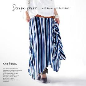 ストライプ旋風キテます。アシメレトロプリーツスカート##・メール便不可