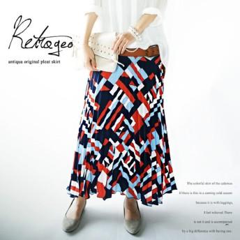 たっぷりの落ち感を。レトロ柄プリーツロングスカート・完売のあのプリーツスカートに新柄。プリーツスカートはこう着たい。##メール便不可